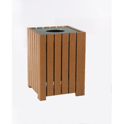(32-Gal Recycled Plastic Standard Square Receptacle Finish: Cedar, Mounting Type: L-Bracket)