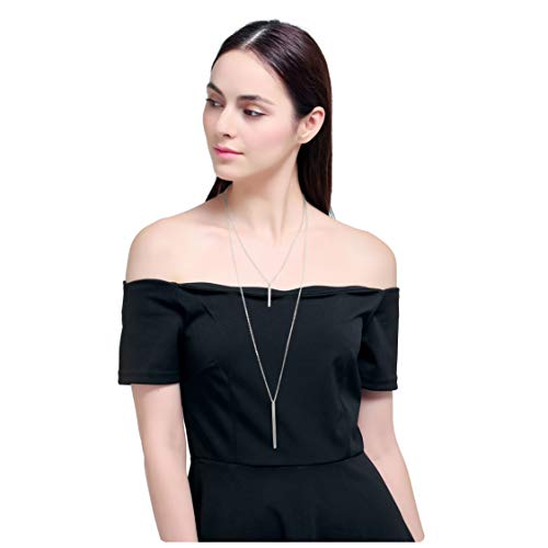 Lariat White Necklace - Culovity Exquisite Layered Bar Pendant Necklaces Jewelry Multilayer Long Lariat Chain for Women White Gold Filled