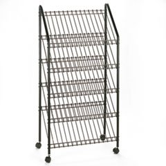 * Mobile Literature Rack, 32-1/2w x 15-1/4d x 63-1/2, Charcoal