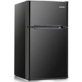 Kuppet Compact Refrigerator Mini Refrigerator for Dorm,Garage, Camper, Basement or Office, Double Door Refrigerator and Freezer, 3.2 Cu.Ft, Black