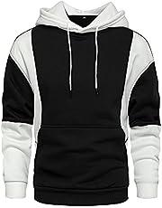 LBL Men's Novelty Contrast Color Pullover Fleece Hoodies Casual Sport Sweatshirts with Pocket
