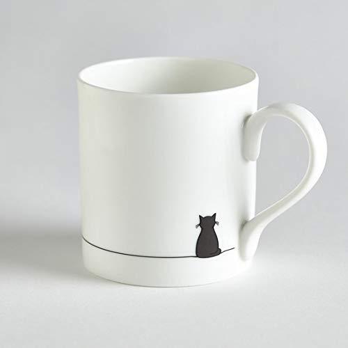 Sitting Cat Mug, Crazy Cat Lover Mug, Cat Lover Gift, Fine Bone China, Gift for Cat Lover, Black Cat Mug, Boxed Mug, Small Coffee Cup