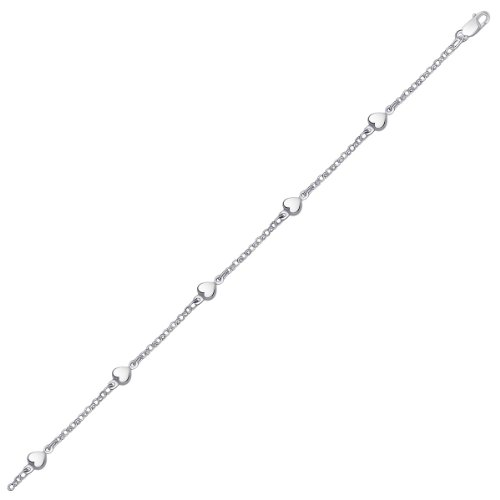 14K White Gold Anklet with Puffed Heart Design