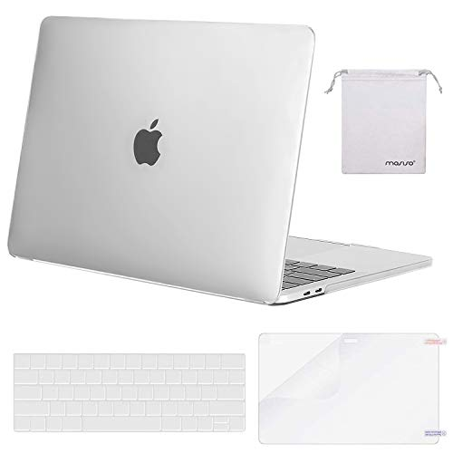 MOSISO MacBook Pro 15 inch Case 2019 2018 2017 2016 Release A1990 A1707, Plastic Hard Shell Case&Keyboard Cover&Screen Protector&Storage Bag Compatible with MacBook Pro 15 Touch Bar, Frost