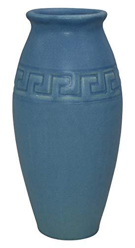 Rookwood Pottery 1914 Matte Blue Greek Key Design Vase 233 - Greek Key Vase