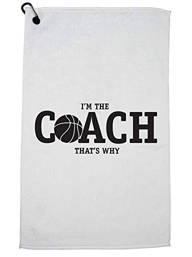 Hollywood Thread I'm The Basketball Coach That's Why Funny Golf Towel with Carabiner Clip by Hollywood Thread