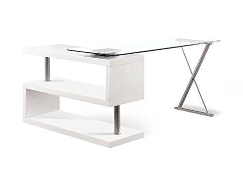 HOMES: Inside + Out IDF-DK6131WH ioHOMES Lilliana S-Shaped Glass-Top Office Desk