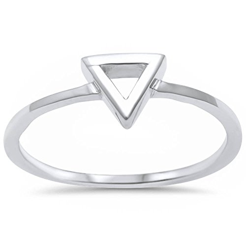 Sterling Silver Plain Triangle Shape Ring Sizes 5