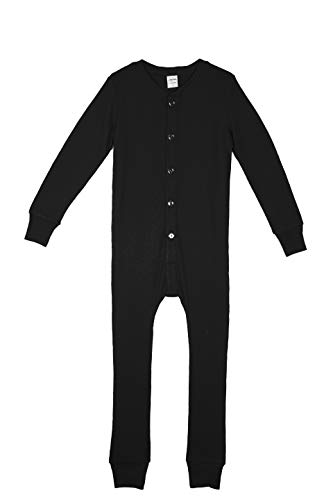 Habit Rags -Boys and Girls Organic Bamboo Union Suit - Best Lightweight Thermal Underwear and Long Johns Onesie for Toddlers and Big Kids (7, Midnight Black)