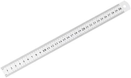 Tivollyff ステンレス鋼金属定規30センチストレート定規測定ミシン足ミシン&学校文具用両面