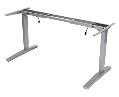 UPLIFT 2-Leg Height Adjustable Standing Desk Frame (Gray) with Advanced 1-Touch Digital Memory Keypad