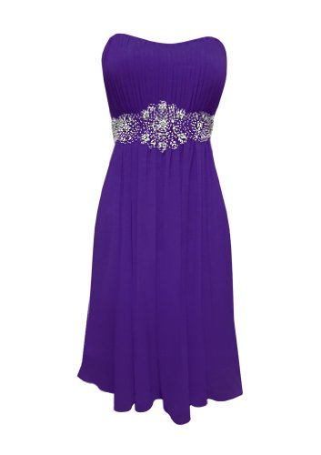 Strapless Chiffon Goddess Short Gown Prom Dress Formal Bridesmaid Junior Plus Size - Purple - M