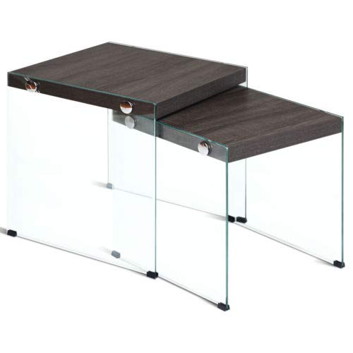 (Soho Nesting Coffee Table Glass Sided End Accent Table Stackable Wood Top 2PCS)