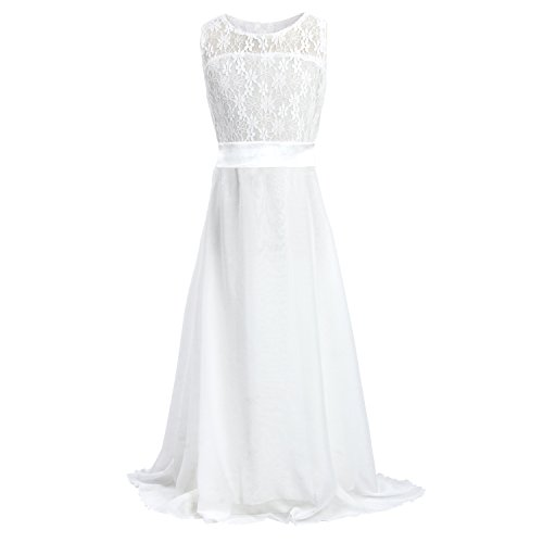 Floor Length Dress for Girls, Acecharming Big Girls Lace Chiffon Bridesmaid Dress Party White  Size 14(Suitable for 12-13 Years) ()