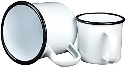 Home Camping Outdoors RV Gift Pack of 2 Hungkuk Coffee Mug Set Classical White Enamel Coffee Tea Drinking Cup
