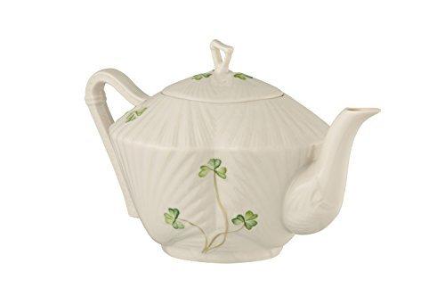 - Belleek Pottery Harp Shamrock Teapot, Green/White by Belleek Pottery
