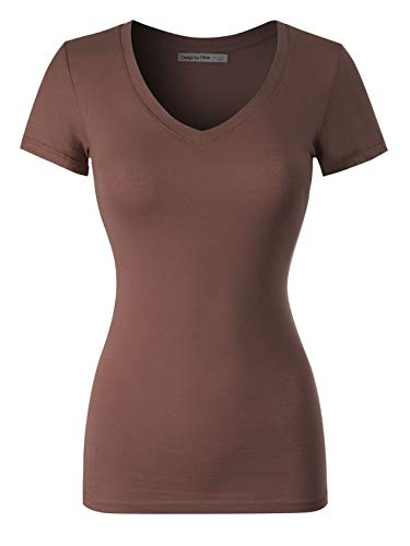 (Design by Olivia Basic Solid Multi Colors Fitted Short Sleeve T-Shirt, Ibtw014 Coffee, Small)