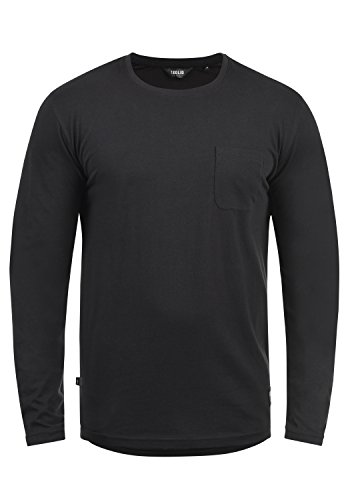 Rond Homme 9000 shirt À Bobo Black Longues T Manches solid Encolure Pw8AqY