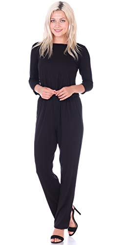 Popana Womens Casual 3/4 Sleeve Jumpsuit with Pockets Plus Size Made in USA Medium Black from Popana