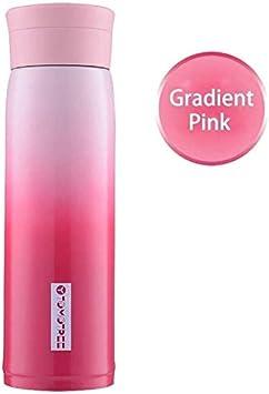 Las mujeres cute botella de Stanless inoxidable aisló la botella del color del gradiente Thermos portátiles niñas Thermo Copa de agua de la oficina, Frasco ( Color : Gradient Pink , Size : 600ml )
