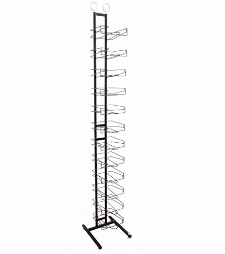 FixtureDisplays 12-Tier Caps Display Rack Baseball Hat Headwear Rack Floor Standing Display Tower 18165-BLACK-NF