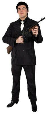 40's Gangster Costume (X-Large Men (46-48) Gangster Costume Suit - (Hat, shirtfront, weapon not included))