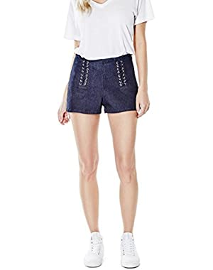 GUESS Ashlee Push-Up Laced Denim Shorts