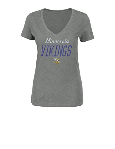 NFL Minnesota Vikings Women's Winning Ranks Short Sleeve V-Neck Tee, Medium, Gray Heather