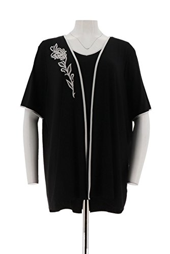Bob Mackie Set - Bob Mackie Embroidered Open Front Knit Cardigan Tank Set A276554, Black, 1X