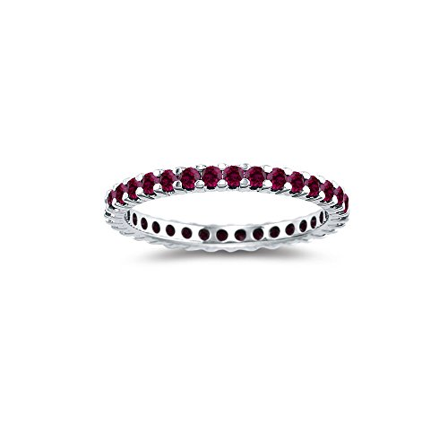 1.15 Cts Ruby Ring in 14K White Gold
