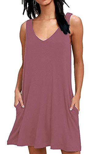 MISFAY Women's Summer Casual T Shirt Dresses Beach Cover up Plain Tank Dress with Pockets (XL, ()