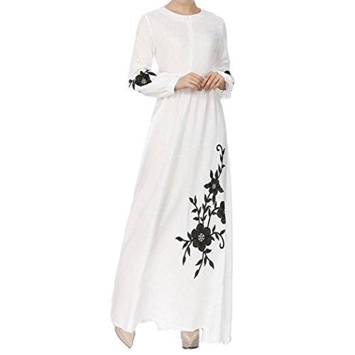Rucan Fashion Womens Muslim Chiffon Long Sleeve Long Maxi Dress Vintage Dresses (B, X-Large)