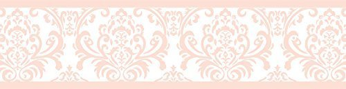 Sweet JoJo Designs Modern Pink Damask Baby Girls, Childrens and Kids Wall Paper Border for Amelia Bedding Collection ()