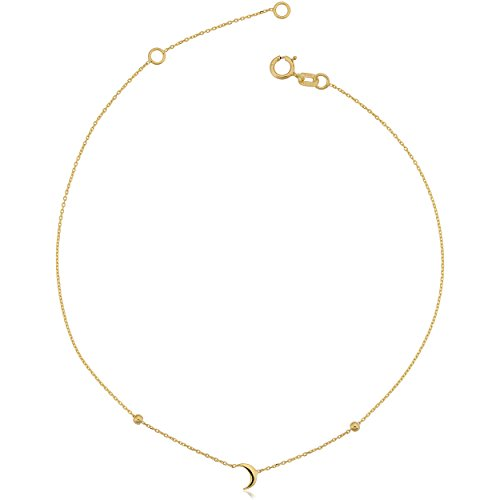 14k Yellow Gold Crescent Moon Adjustable Length Anklet (fits 9'' or 10'') by Kooljewelry