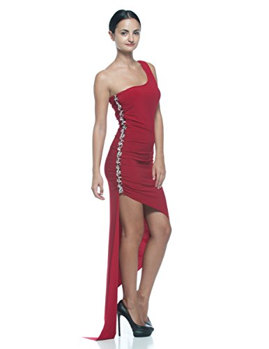 Embellished One Shoulder Gown - Women's Plus Red One Shoulder Embellished Goddess Evening Gown Asymmetric Dress (2XL)