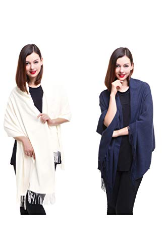 REEMONDE Large Extra Soft Cashmere Blend Women Pashmina Shawl Wrap Stole Scarf (2 Pack - Cream & Denim)