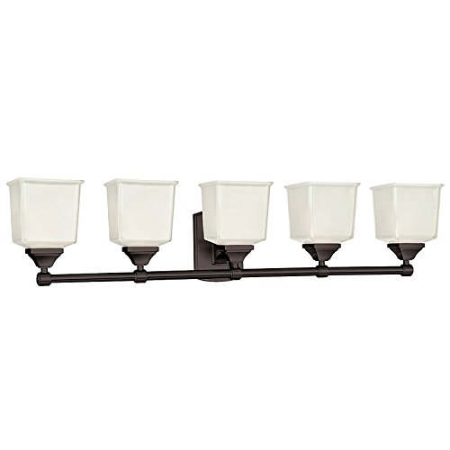 - Lakeland 5-Light Vanity Light - Old Bronze Finish with Clear/Frosted Glass Shade