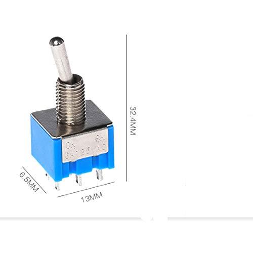 1000pcs/Lot DPDT ON-Off-ON Miniature Rocker Toggle Switch 3A/250VAC 6A/125VAC by IndustrialField