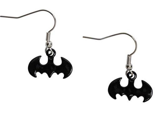[Batman Dc Comics Black Batman Insignia Dangle Earrings Jewelry] (Fantasy Life Angel Costume)