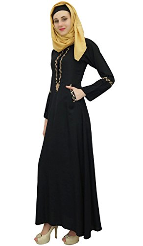 Black Bimba Kleid islamischem Frauen Muslim Arbeit Aari 54 Abaya mit Hijab Jilbab Mädchen qF6FZwUxrS