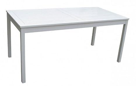 Table de jardin blanc laqué en bois d\'eucalyptus certifié ...