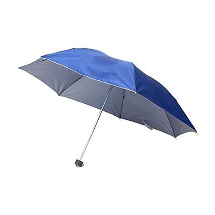 eDealMax Metal recorrido al aire Libre costillas eje telescópico plegable dom Lluvia paraguas Azul