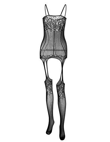Honney Women Sexy Lace Lingerie Fishnet Bodystocking Crotchless Lingerie Bodysuit Net Nighty