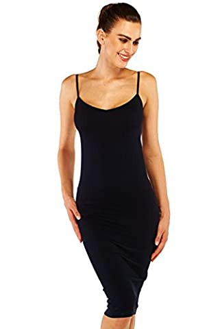 Belugue Women's Long Slips Straps V Neck Straight Chemise Sleepwear Black M