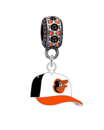 Baltimore Orioles Ball Cap Charm Fits Most Bracelet Lines Including Pandora, Chamilia, Troll, Biagi, Zable, Kera, Personality, Reflections, Silverado and More