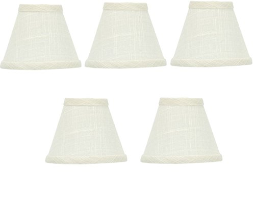 (Upgradelights White Linen 5 Inch Empire Clip On Chandelier Lampshades (Set of 5))