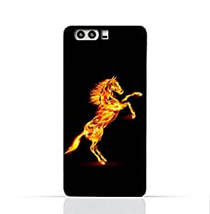 HUawei P10 Plus TPU Silicone Case with Horse on Flame Design