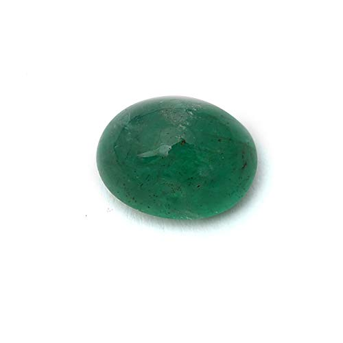 (Jaipur Gems Mart 3.25 Carat Oval Shape Natural Zambian Green Emerald Cabochan Piece for Jewelry Making, Emerald Earring, Healing Gemstone, Astrological Gemstone)