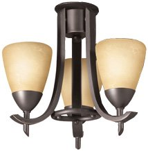 Kichler Lighting 380001OZW Olympia 3-Light Ceiling Fan Light Fixture with Etched Cased Opal Glass, Olde Bronze Finish