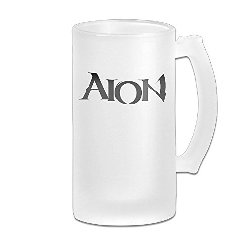AION Logo Grind Beer Glass Mug White Earthenware Server